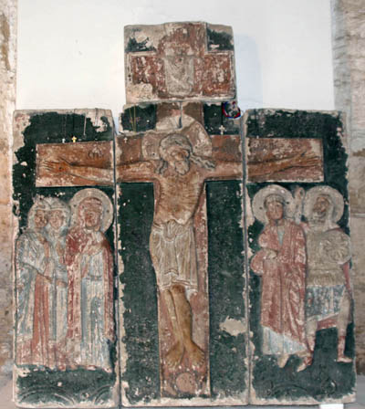 "Relief song ""the Crucifixion with bystanders"" (stored in the Lapidarium St. George's Cathedral)."