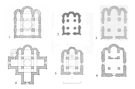 The plans of some four-column temples of North-Eastern Russia: