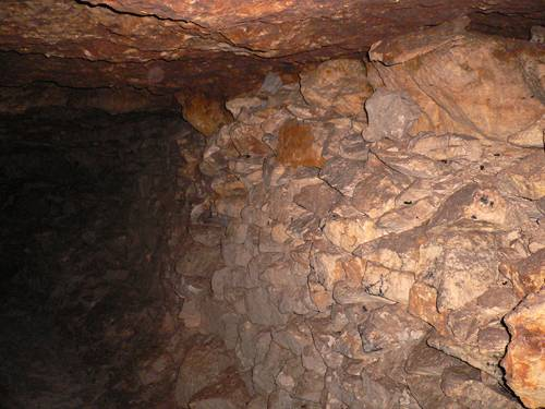 "Quarrystone under the ceiling in the quarry ""Jubilee""."
