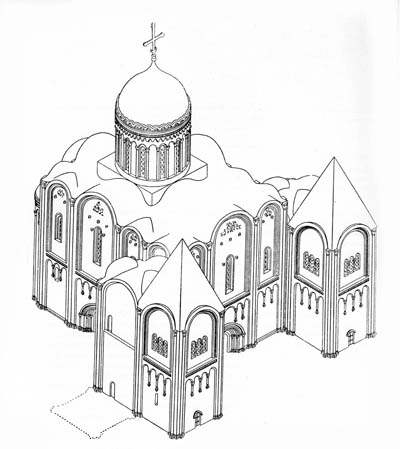 Assumption Cathedral of 1158-1160. Reconstruction by N.N. Voronin. Axonometry.