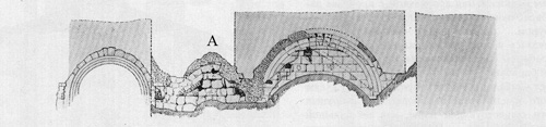 �The southern side of Andrey's arches before the restoration�. Drawing by I.O. Karabutov.