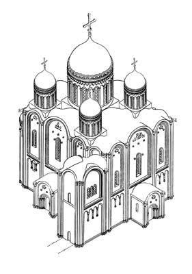 Assumption Cathedral of 1158-1160. Reconstruction by the author. Axonometry.