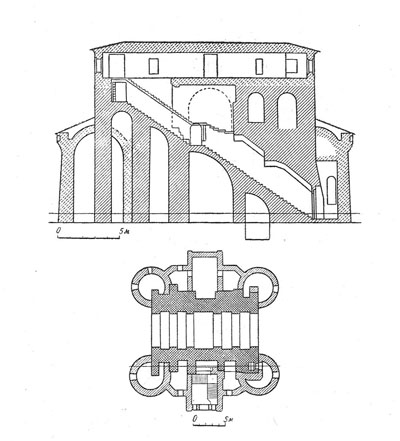 Golden Gate. The section and profile and plan (by G.F. Korzukhina).